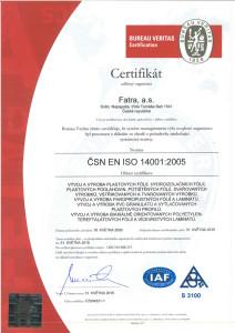 Fatra ISO certifikát 14001
