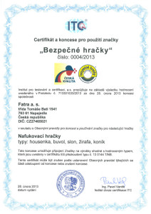 Fatra certifikát Bezpečné hračky